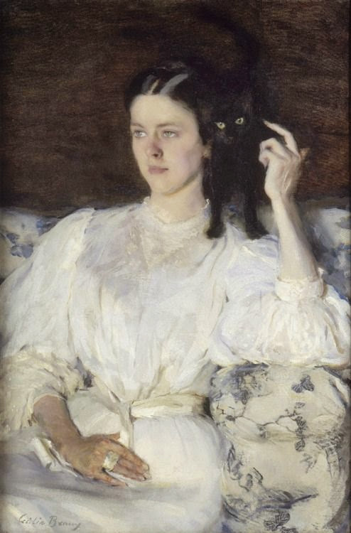 """Cecilia Beaux. """"Sita and Sarita, or Young Girl with a Cat."""" 1893-1894."""