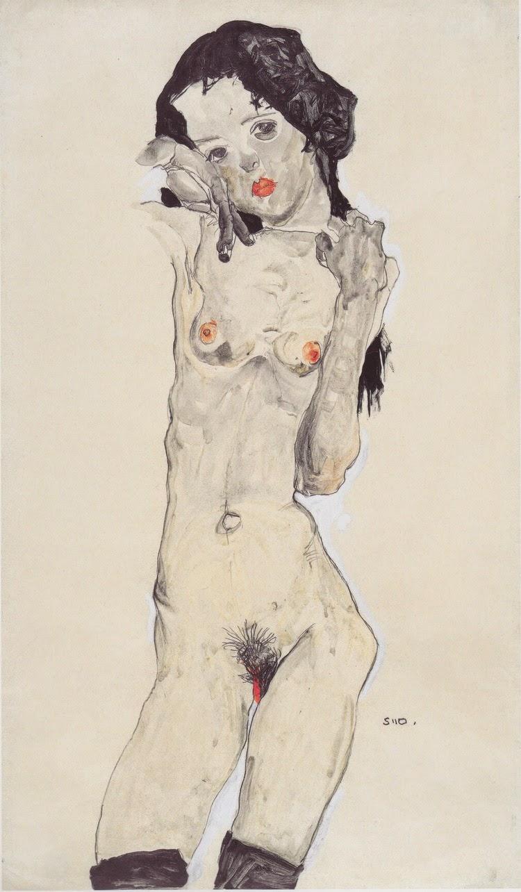 """Egon Schiele. """"Schwarzhaariger Mädchenakt"""". 1910."""