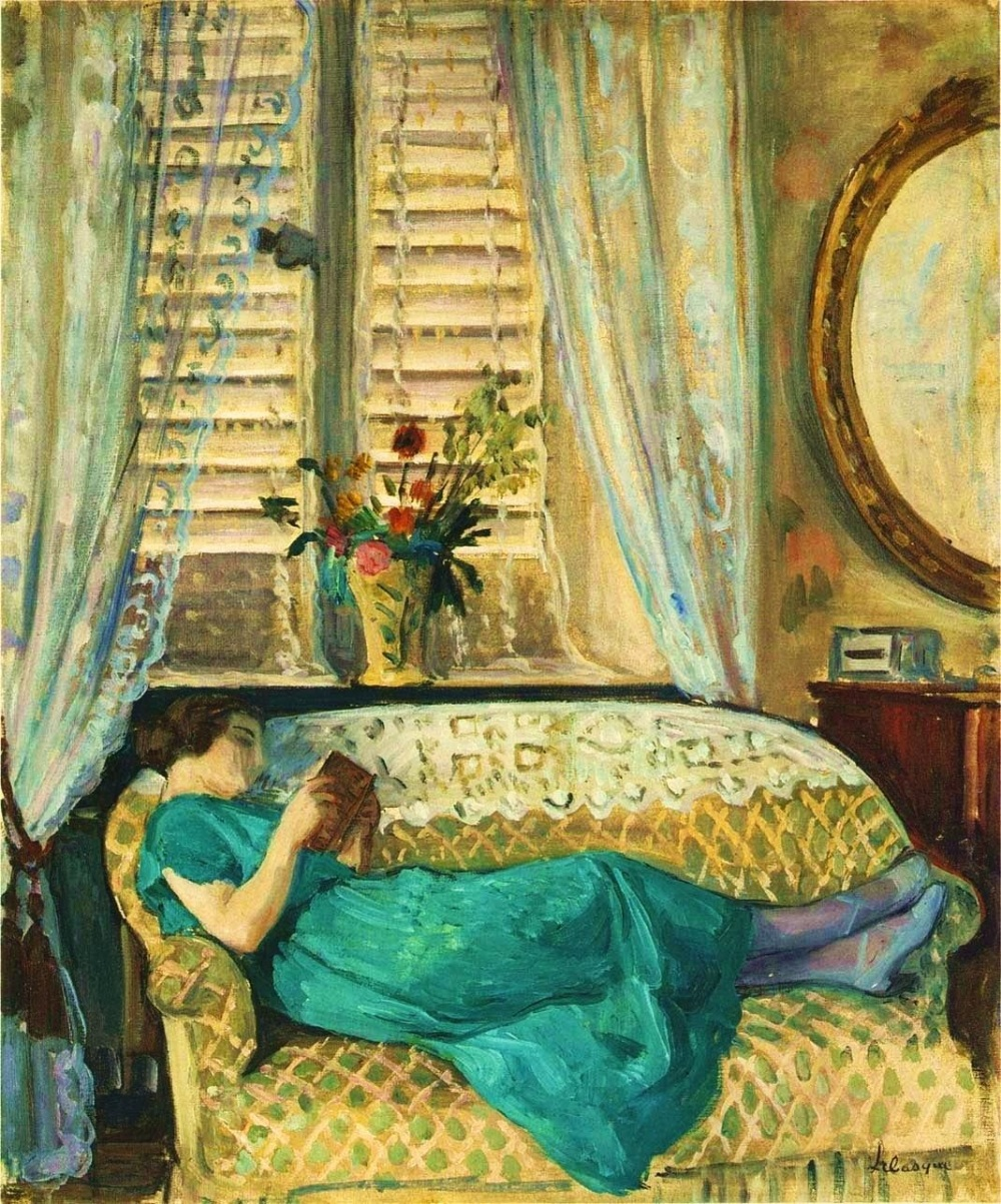 "Henri Lebasque. ""Woman Reading."""