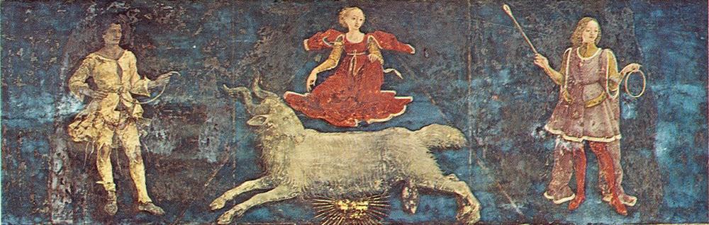 """Francesco Del Cossa. """"I tre decani con il segno zodiacale dell'Ariete""""."""