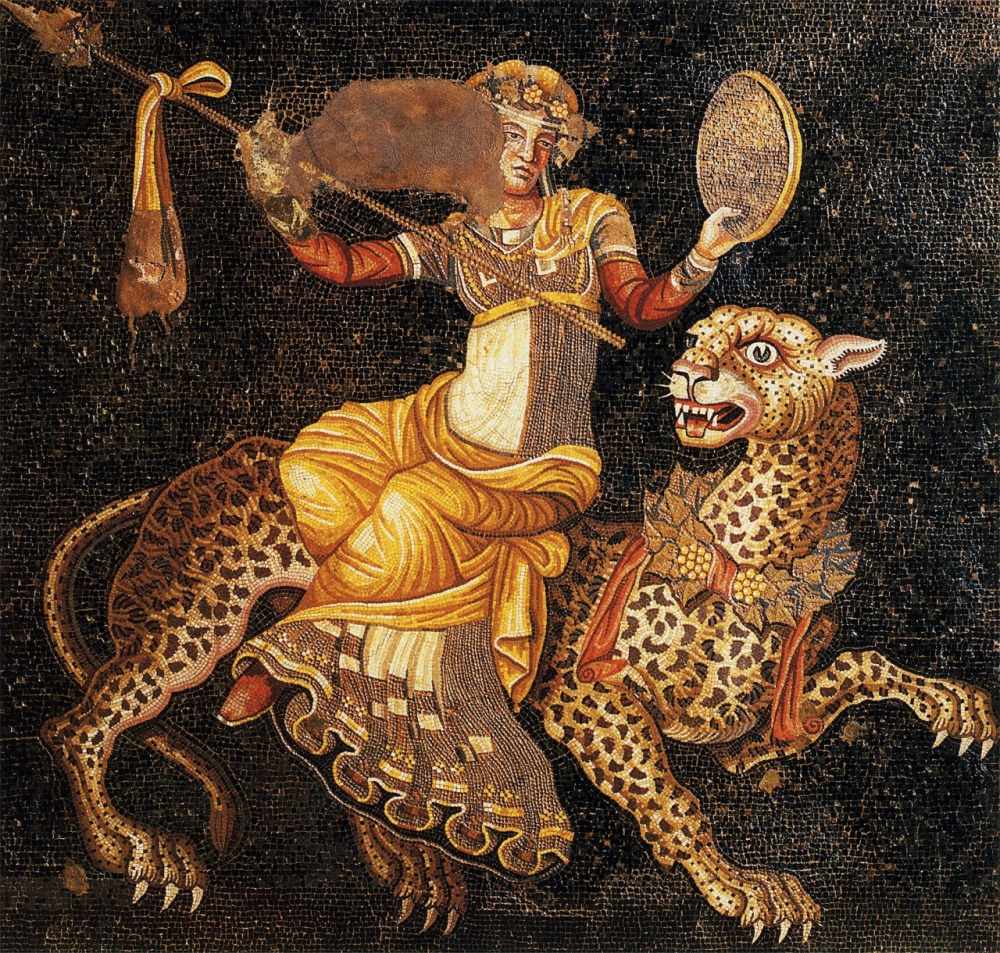 Dionysos riding on a panther, floor mosaic, House of the Masks, Delos, 120-80 BC
