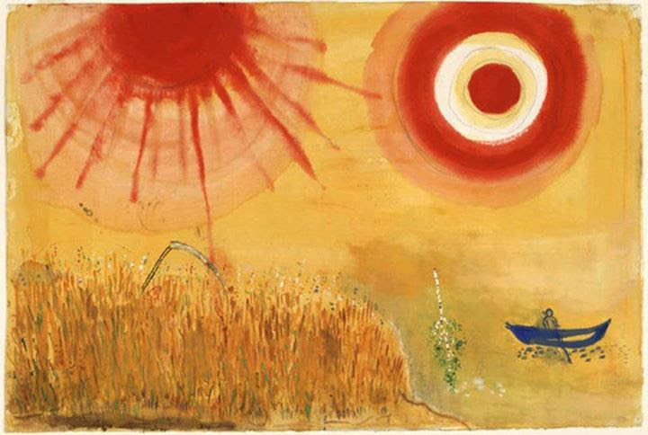 Marc Chagall, A Wheatfield on a Summer's Afternoon. Study for backdrop for Scene III of the ballet Aleko, 1942