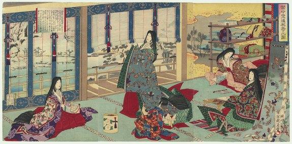 Chikanobu. Lady Sei Shonagon in the Court.