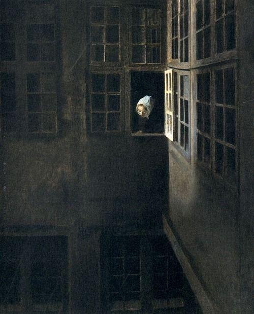 """Vilhelm Hammershoi. """"Courtyard Interior at Strandgade 30"""".1905."""