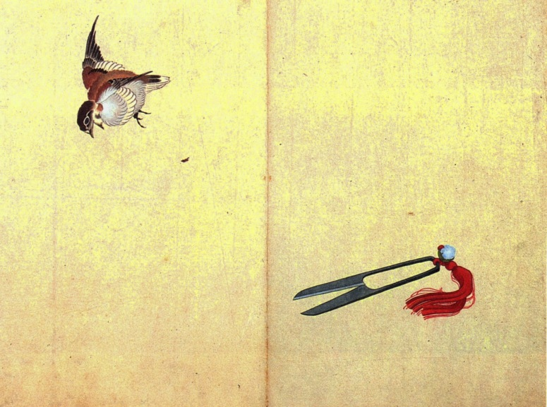 Katsushika Hokusai. Pair of sissors and sparrow. s/d. Source: Wikimedia Commons.
