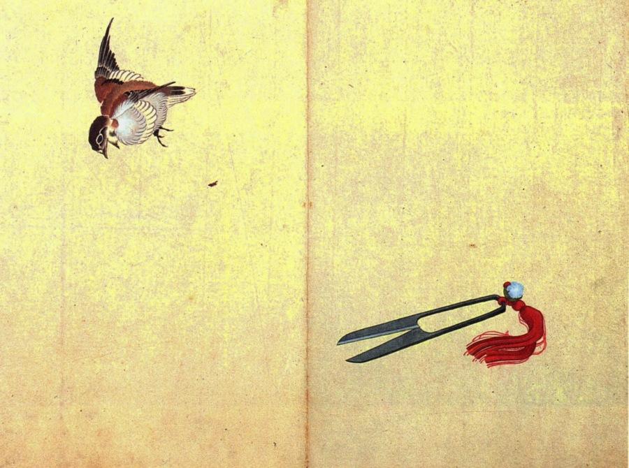Katsushika Hokusai. Pair of sissors and sparrow. s/d. Source: Wikimedia Commons.