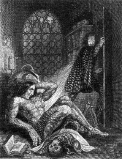 The frontispiece to the 1831 Frankenstein by Theodor von Holst.