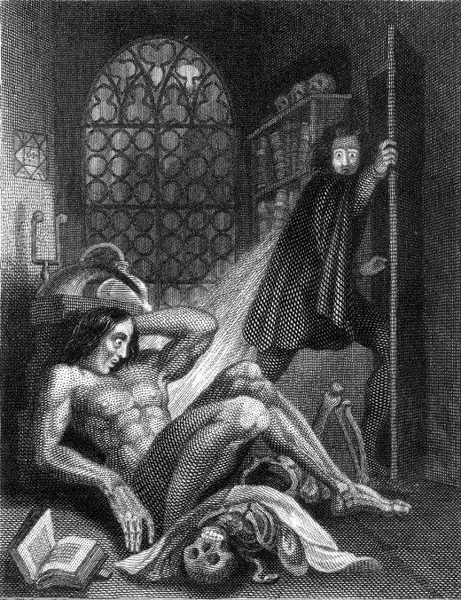 The frontispiece to the 1831 Frankenstein by Theodor von Holst.