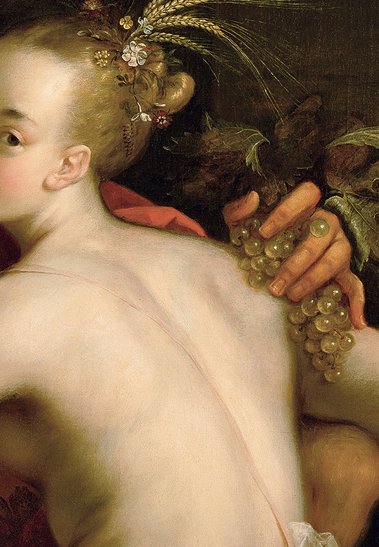 "Hans von Aachen. ""Bacchus, Ceres and Amor"", c. 1605 (detail)."