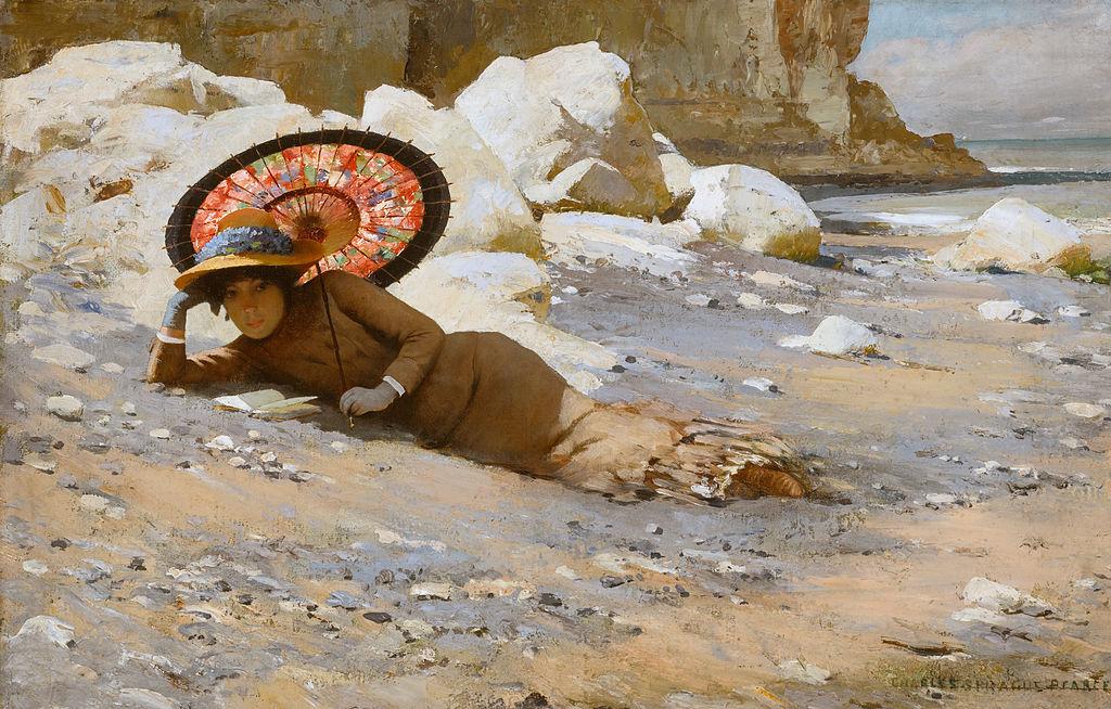 charles-sprague-pearce-reading-on-the-beach-1883-85