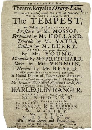 Drury Lane playbill - The Tempest