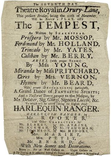 Drury Lane playbill - The Tempest