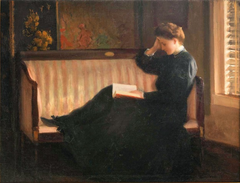 William Worchester Churchill. Woman Reading on a Settee, circa 1910.