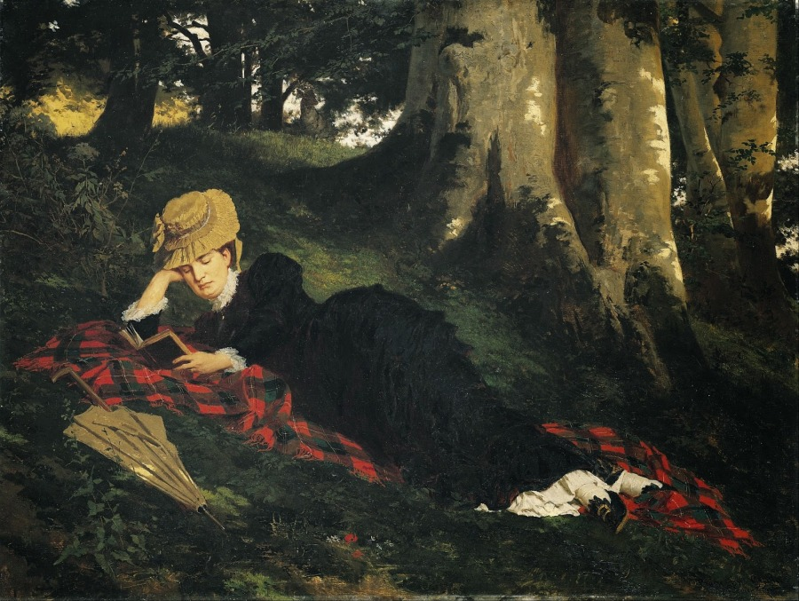 """Woman reading in a forest."" Gyula Benczúr. 1875."