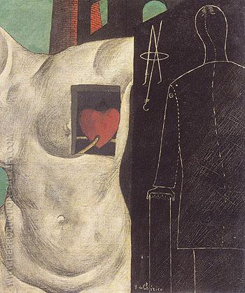 De Chirico. I'll be There; The Glass Dog [detail]. 1914.