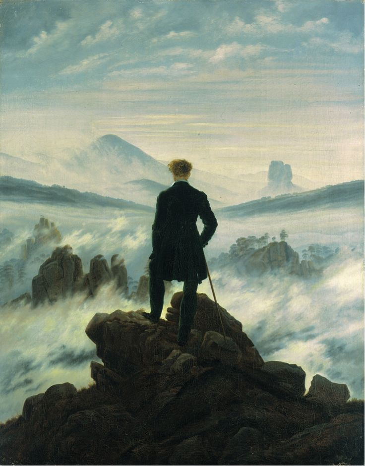 "Caspar David Friedrich. ""Wanderer above the Sea of Fog"" (German: Der Wanderer über dem Nebelmeer), also known as ""Wanderer Above the Mist"" or ""Mountaineer in a misty Landscape"". c. 1818."