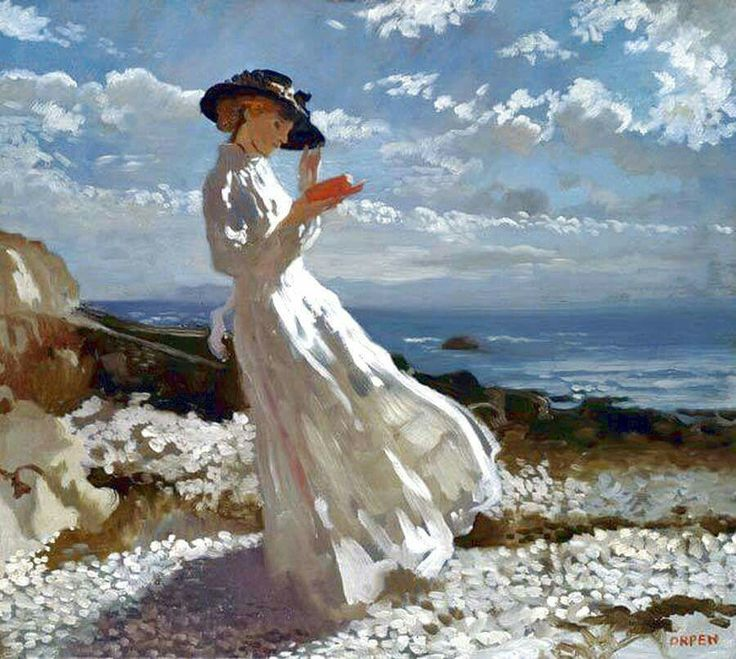 "William Orpen. ""Grace Reading at Howth Bay""."