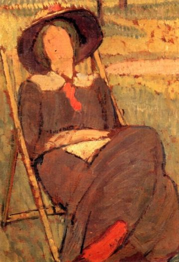 Virginia Woolf in a deckchair, by Vanessa Bell. 1912.