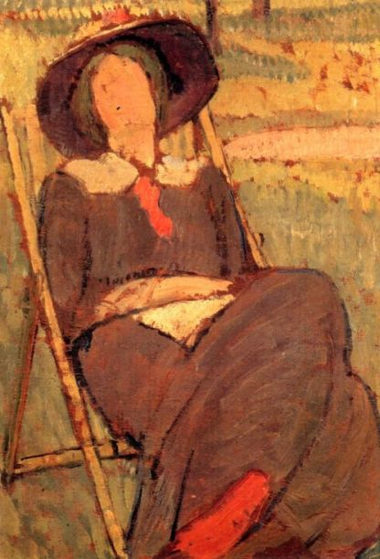 Virginia Woolf in a deckchair, by Vanessa Bell. 1912.