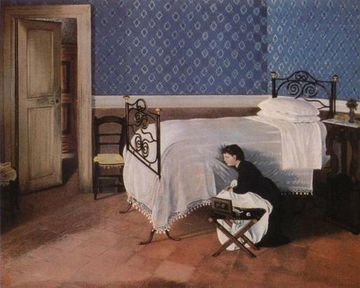 Adriano Cecioni. Interno con figura, 1868.
