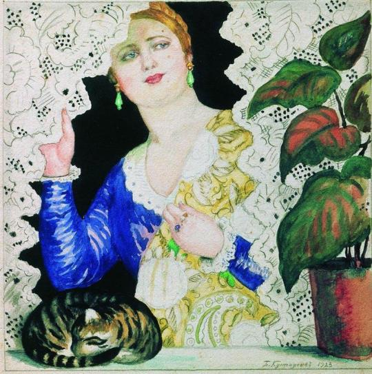 "Boris Kustodiev. ""Russian-girl near the windon"",1923."