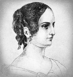 Anne Brontë, detail of a pencil drawing by her sister Charlotte Brontë, c. 1845