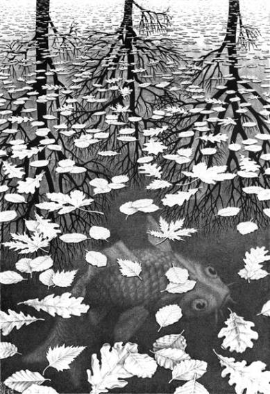 "M.C. Escher, 'Three Worlds"", 1955"