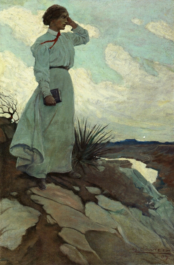 Oh, The Brave Music de Dorothy Evelyn Smith Louise-loved-to-climb-to-the-summit-on-one-of-the-barren-hills-flanking-the-river-and-stand-there-while-the-wind-blew-n.c.-wyeth-1907