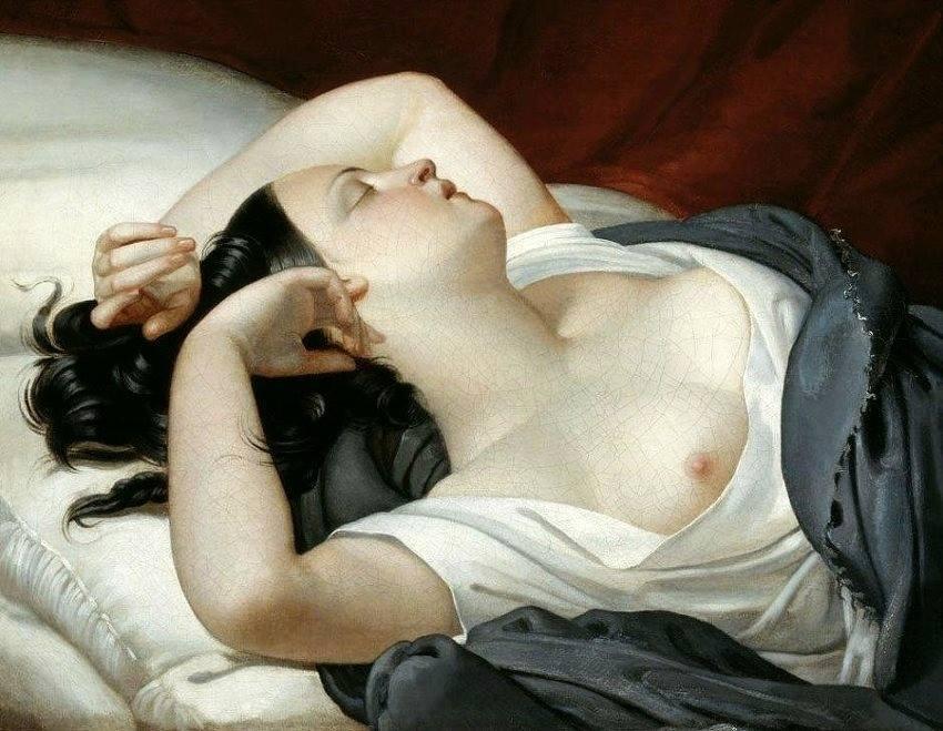 Eugène Pluchart, Sleeping Italian woman, 1840