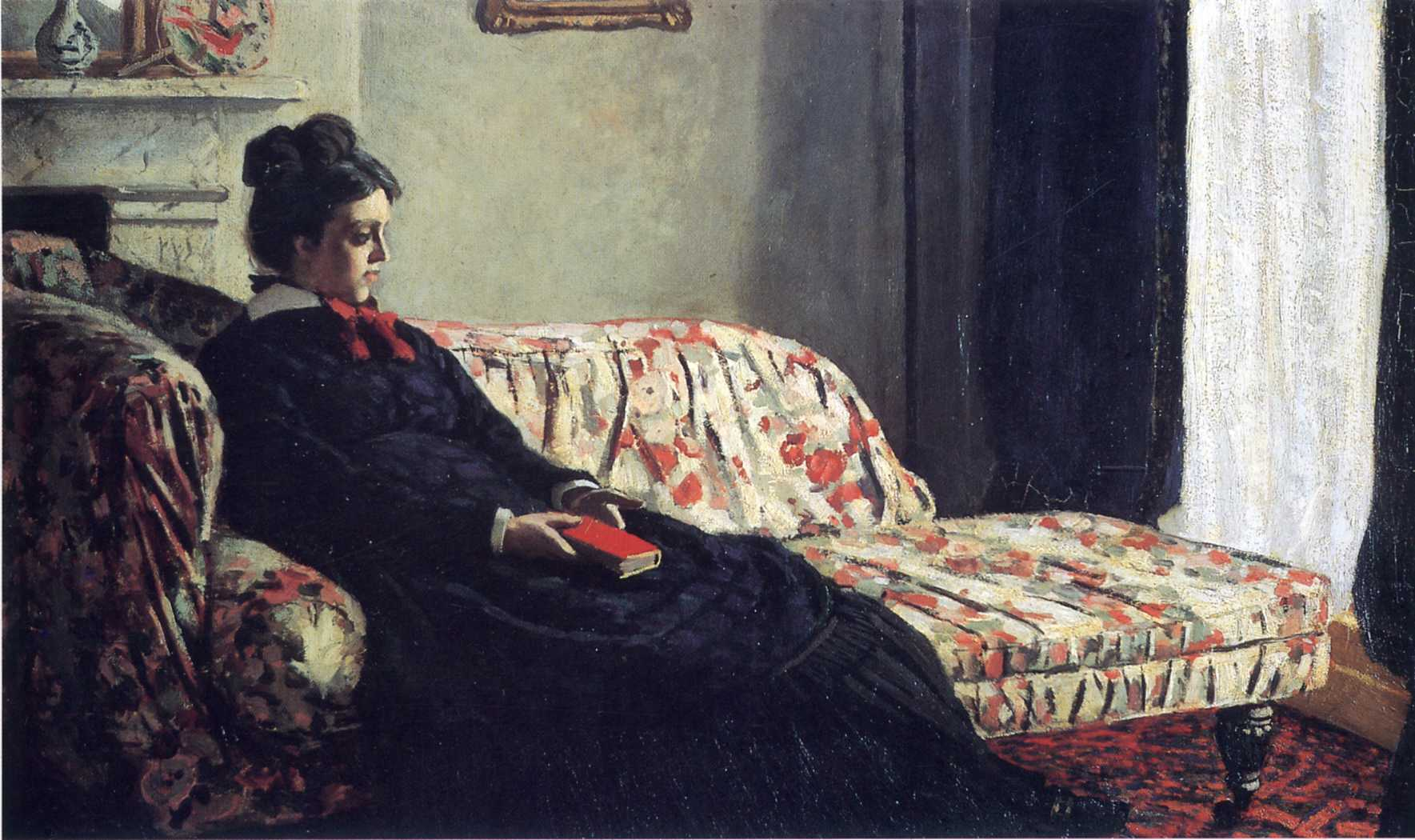 Meditation, Madame Monet on the Sofa, by Claude Monet, 1871