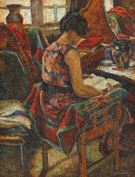 Woman reading, by Leon Viorescu