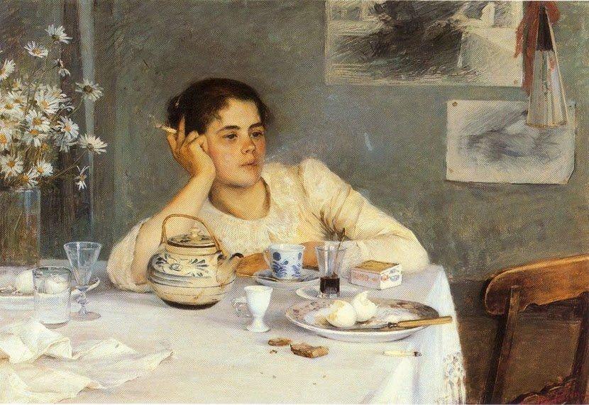 After breakfast, c.1900 by Finnish painter Elin Danielson-Gambogi