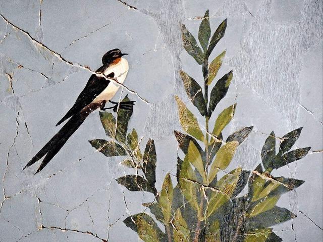 Giardino dipinto 3 inizi I sec., particolari, dalla Casa del Bracciale d'oro - Parco archeologico di Pompei, Napoli