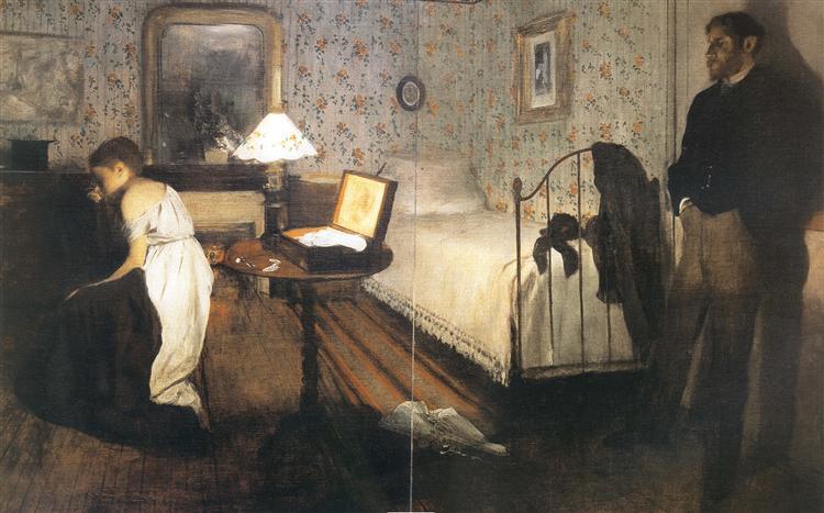 Interior (The Rape), by Edgar Degas, 1868-1869