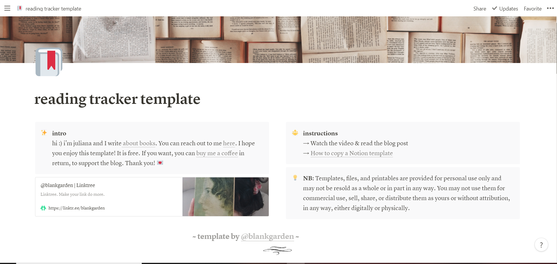 reading tracker template