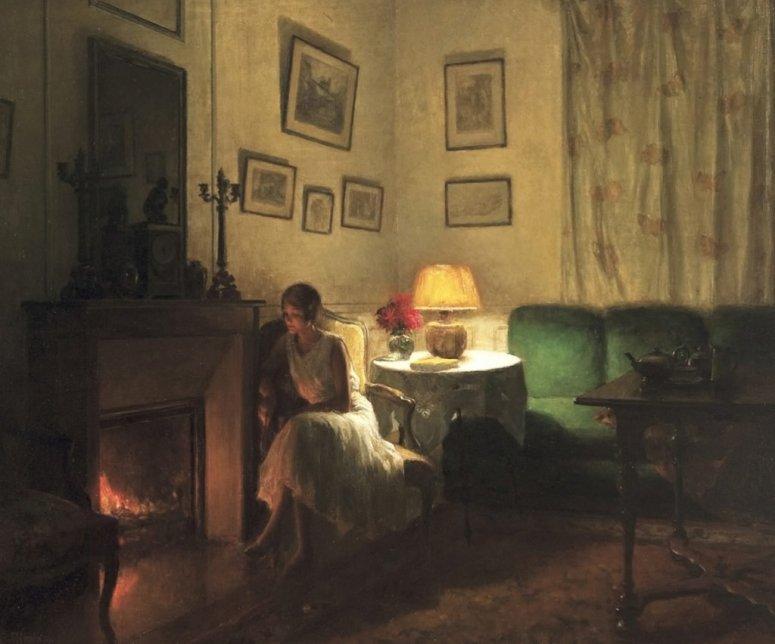 not used Songeuse devant la cheminée, by Marcel Rieder, 1932